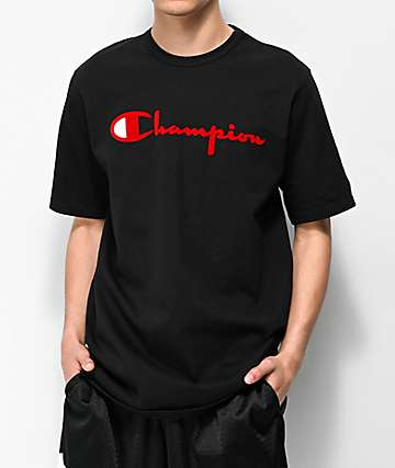 Champion Flock Script Black & Red T-Shirt