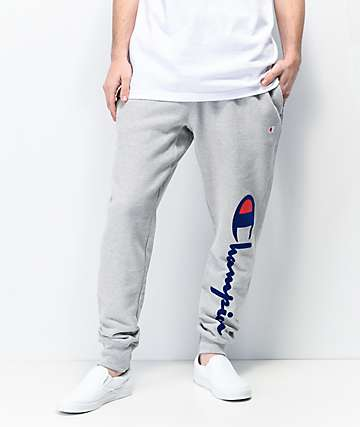 Champion Flock Script Grey Jogger Sweatpants