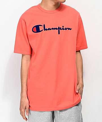 Champion Flock Script Papaya & Blue T-Shirt