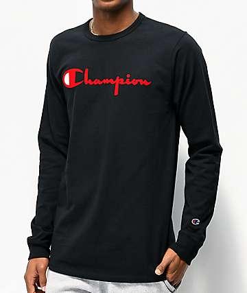 Champion Flock Script Red & Black Long Sleeve T-Shirt
