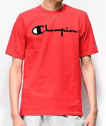 Champion Flock Script Red T-Shirt