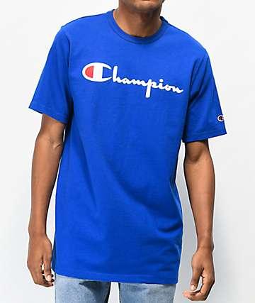 Champion Flock Script camiseta azul y negra