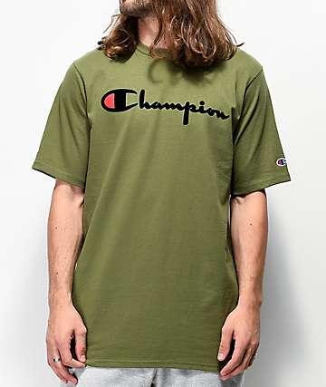 Champion Flock Script camiseta oliva