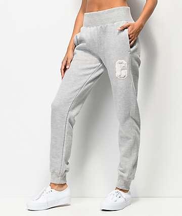 Champion Floss Stitch C jogger pantalones deportivos de tejido inverso gris