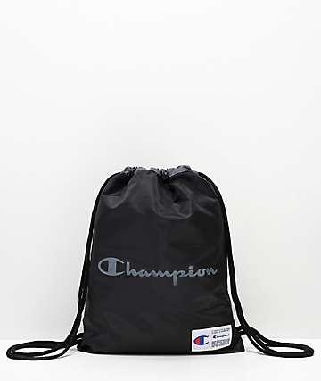 Champion Forever Double Sack Black Gym Cinch Bag