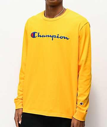 Champion Full Chest Emblem Gold Long Sleeve T-Shirt