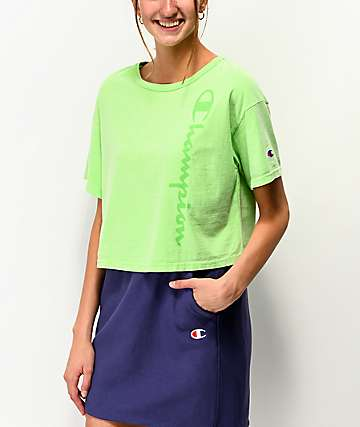 Champion Green Pigment Dyed Crop T-Shirt