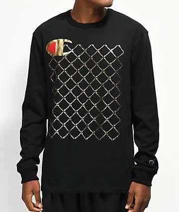 Champion Heritage Quilt camiseta de manga larga negra