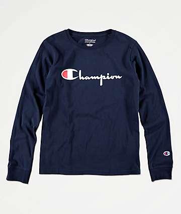 Champion Heritage Script camiseta de manga larga azul marino para niños