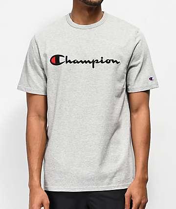 Champion Heritage Script camiseta gris con bordado