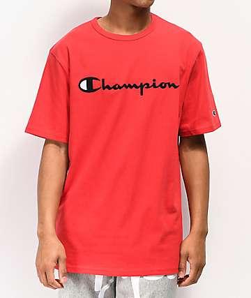 Champion Heritage Script camiseta roja bordada