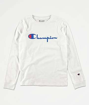 Champion Heritage camiseta blanca de manga larga para niños