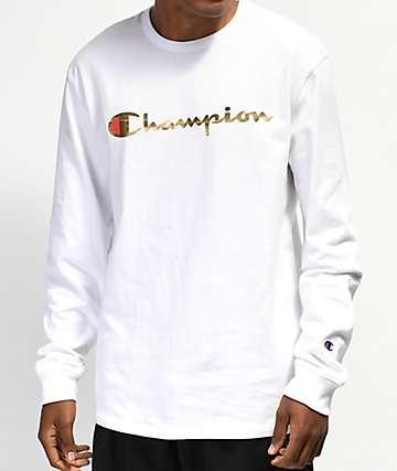 Champion Heritage camiseta de manga larga dorada y blanca