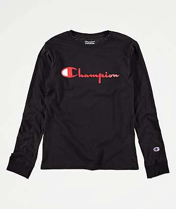 Champion Heritage camiseta negra de manga larga para niños