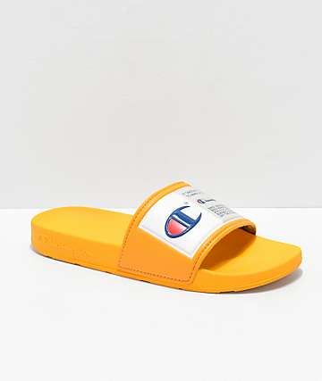Champion IPO Jock Yellow & White Slide Sandals