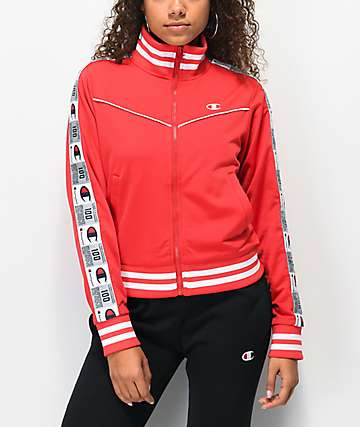 Champion Jocktag Red Crop Track Jacket