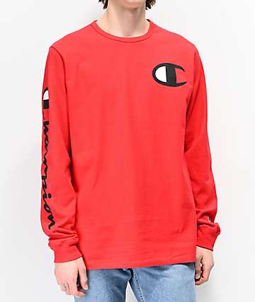 Champion Large C Red Long Sleeve T-Shirt