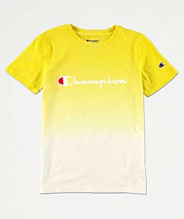 Champion Logo camiseta tie dye amarilla para niños