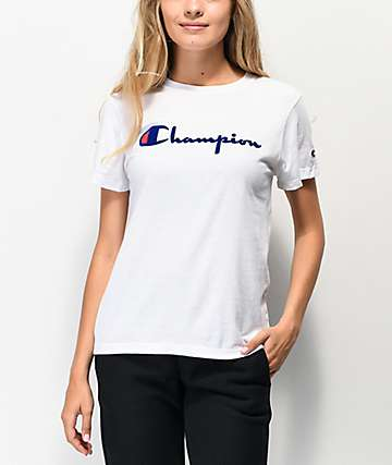 Champion OG Direct Flock Script camiseta blanca