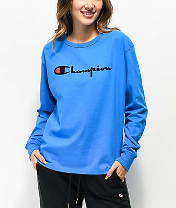 Champion OG Flock Blue Long Sleeve T-Shirt