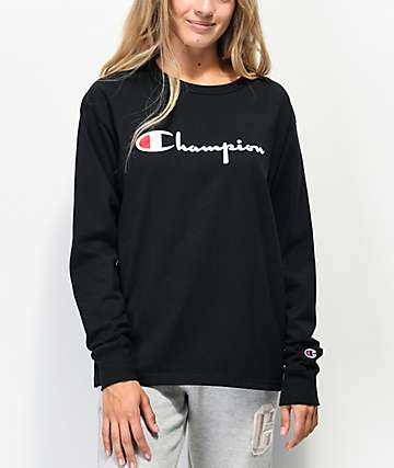 Champion OG Flock camiseta negra de manga larga
