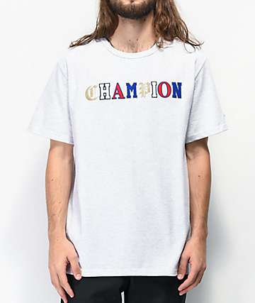 Champion Old English High School Logo camiseta gris