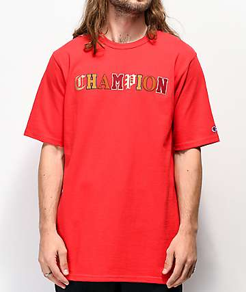Champion Old English High School Logo camiseta roja