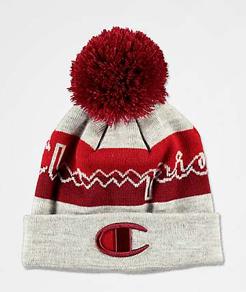 Champion Oxford Grey & Cherry Red Pom Beanie