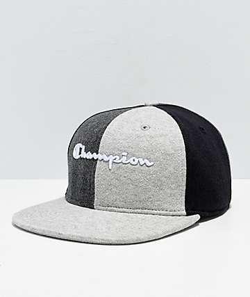 Champion Reverse Weave Black & Grey Colorblock Strapback Hat