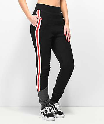Champion Reverse Weave Black & Grey Colorblocked Jogger Sweatpants