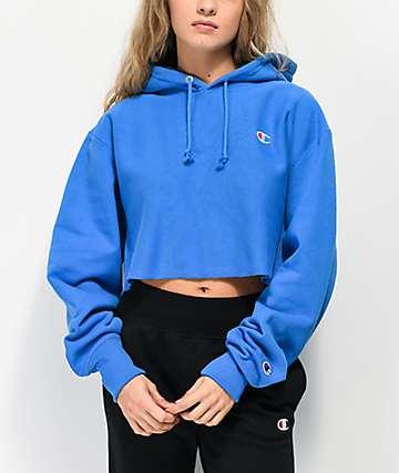 Champion Reverse Weave Blue Crop Hoodie