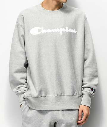 Champion Reverse Weave Mesh & Leather Logo Oxford Grey Crew Neck Sweatshirt