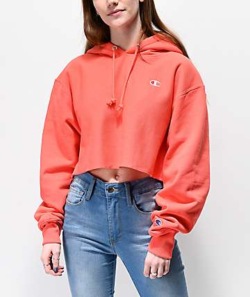 Champion Reverse Weave Papaya Crop Hoodie