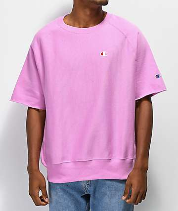 Champion Reverse Weave Pink Short Sleeve Crew Neck Sweatshirt