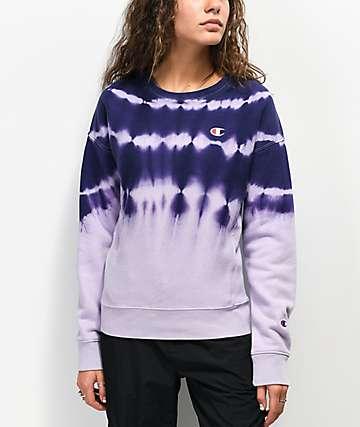 Champion Reverse Weave Purple Tie Dye Crew Neck Sweatshirt