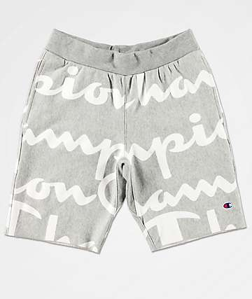 Champion Reverse Weave Script Grey Sweat Shorts