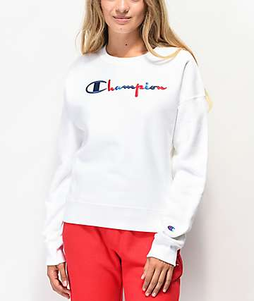 Champion Reverse Weave Three Color White Crew Neck Sweatshirt