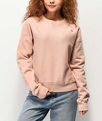 Champion Reverse Weave Tinted Tan Crew Neck Sweatshirt