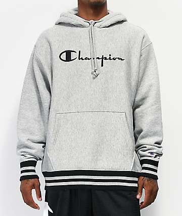 Champion Rib Trim Grey Hoodie