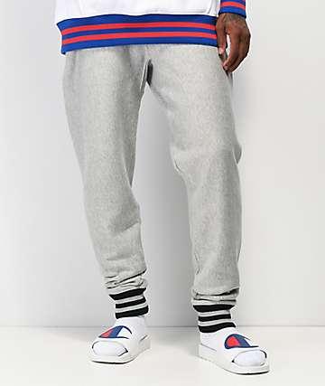 Champion Rib Trim pantalones deportivos en gris y negro