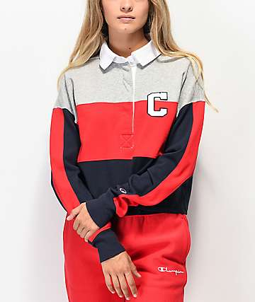 Champion Rugby Red, Blue & Grey Crop Long Sleeve Shirt