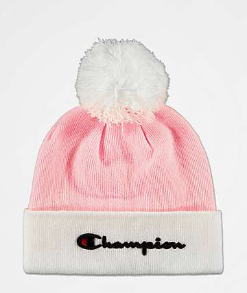 Champion Script Pink Pom Beanie