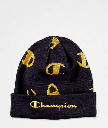 Champion Script Print Navy & Gold Beanie