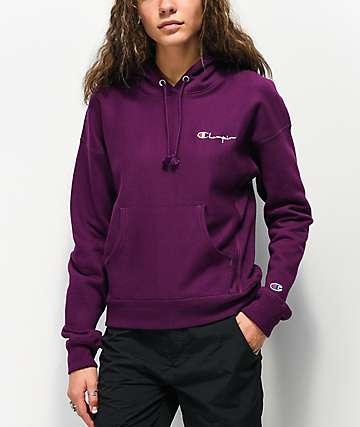 Champion Script Reverse Weave Venetian Purple Hoodie