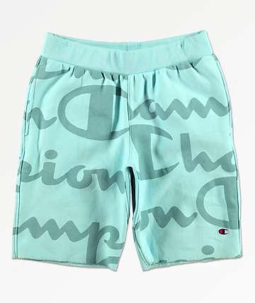 Champion Script shorts de punto de tejido inverso verde