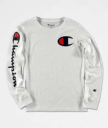 Champion Sleeve Print camiseta blanca de manga larga para niños