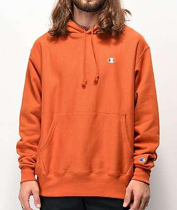 Champion Small C sudadera con capucha de tejido inverso naranja quemado