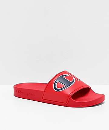 Champion Split Script Red Slide Sandals