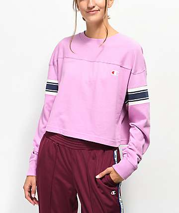 Champion Stripe Pink Crop Long Sleeve T-Shirt