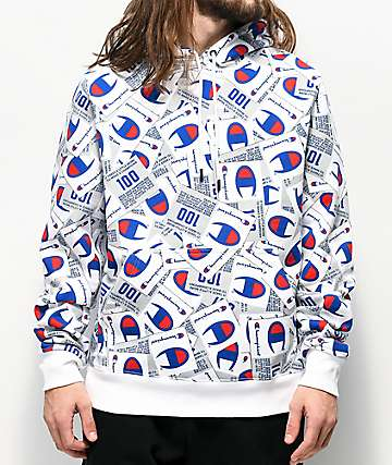 Champion Super Fleece Allover Tag Print sudadera con capucha blanca